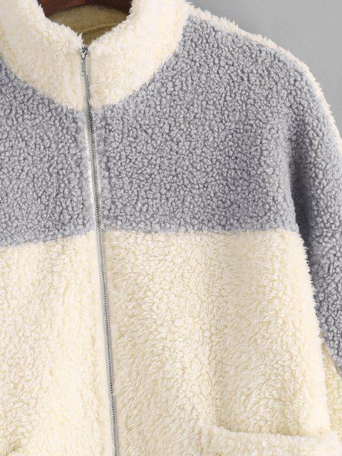 hot ZAFUL Drop Shoulder Two Tone Teddy Coat - LIGHT KHAKI M Mobile