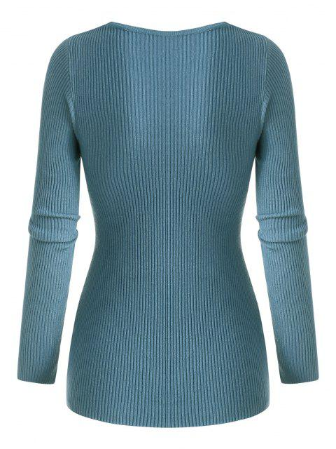 outfit Ribbed Twisted V Neck Knitwear - LIGHT BLUE ONE SIZE Mobile