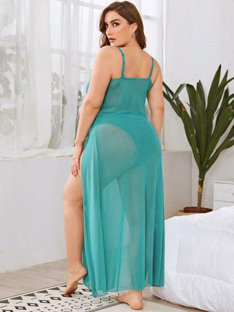 trendy Plus Size High Slit Mesh Lingerie Gown - LIGHT GREEN 2XL Mobile