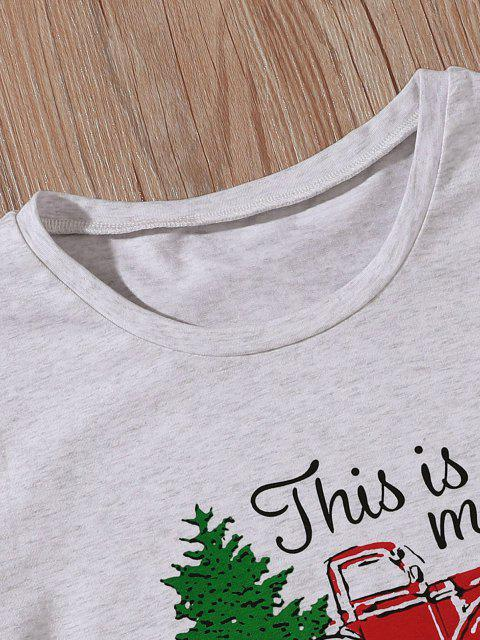 outfit Funny Car Christmas Tree Movies Tee - LIGHT GRAY XL Mobile