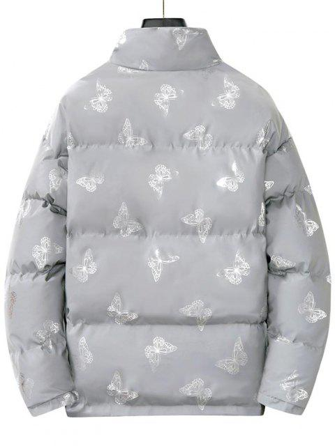 women's Reflective Butterfly Print Puffer Jacket - SILVER L Mobile