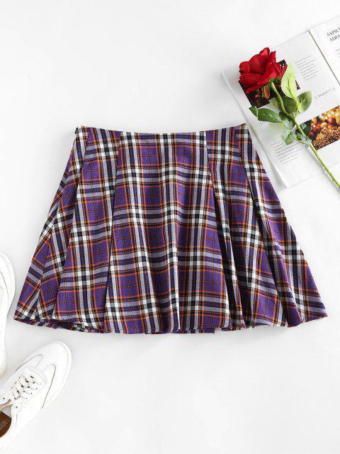 latest ZAFUL High Waist Plaid Pleated Mini Skirt - PURPLE AMETHYST L Mobile