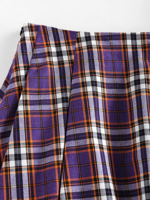 women ZAFUL High Waist Plaid Pleated Mini Skirt - PURPLE AMETHYST M Mobile