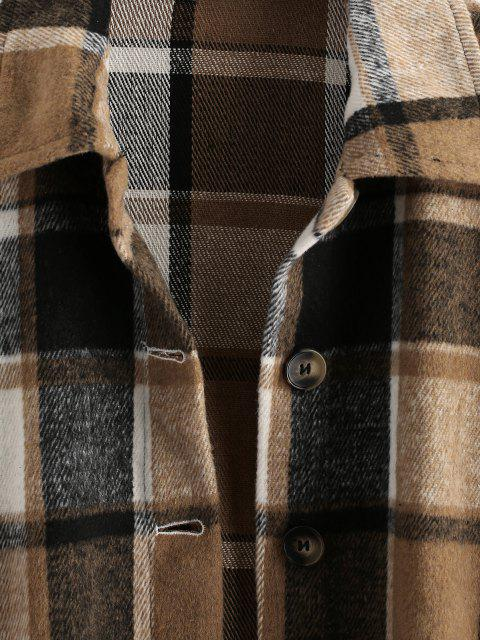 trendy Button Front Plaid Wool Blend Shacket - COFFEE L Mobile