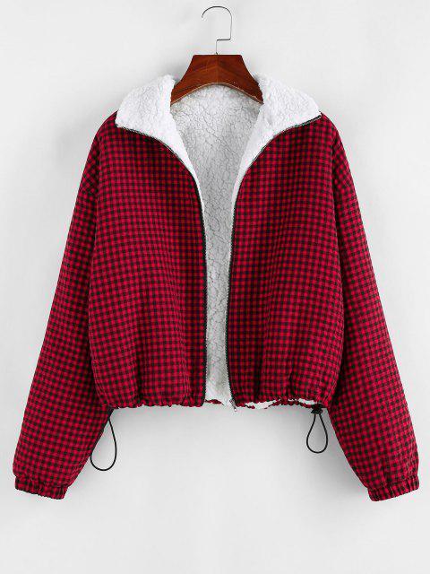 hot ZAFUL Gingham Drop Shoulder Faux Fur Lining Coat - BROWN SUGAR S Mobile