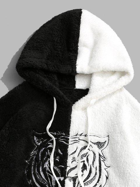 outfit Two Tone Tiger Embroidery Fluffy Hoodie - BLACK S Mobile