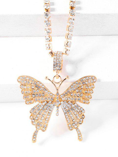 sale Big Butterfly Pattern Rhinestone Necklace - GOLDEN  Mobile