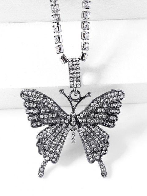 buy Big Butterfly Pattern Rhinestone Necklace - GUNMETAL  Mobile