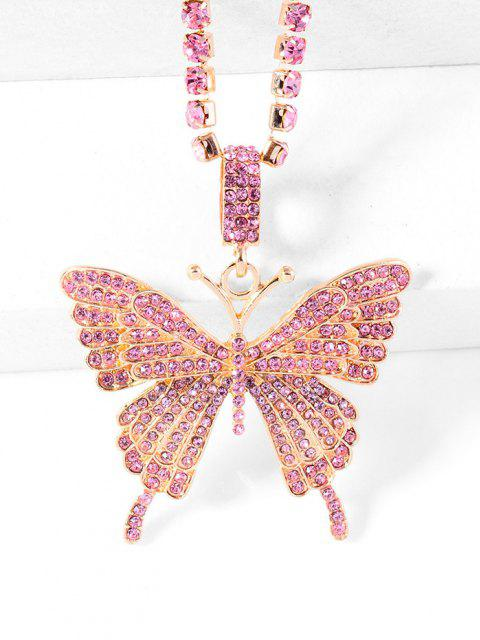 womens Big Butterfly Pattern Rhinestone Necklace - LIGHT PINK  Mobile