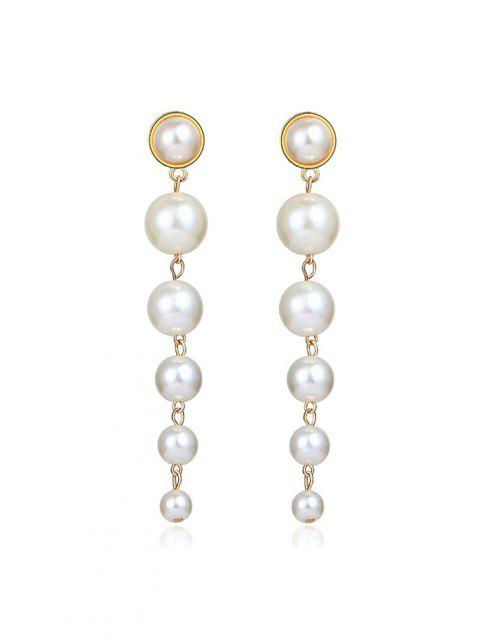 online Faux Pearl Tassels Drop Earrings - GOLDEN  Mobile