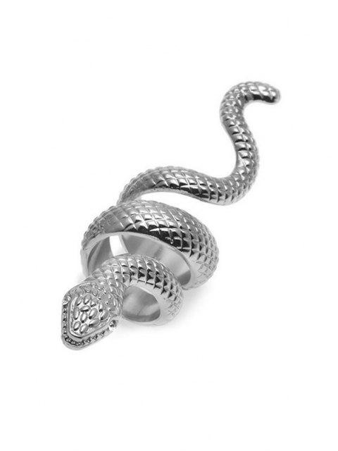 Snake Carved Exaggerated Wrap Ring - فضة  Mobile