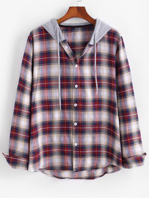 Chemise à Capuche Panneau en Blocs de Couleurs Motif à Carreaux - Rouge foncé S Mobile