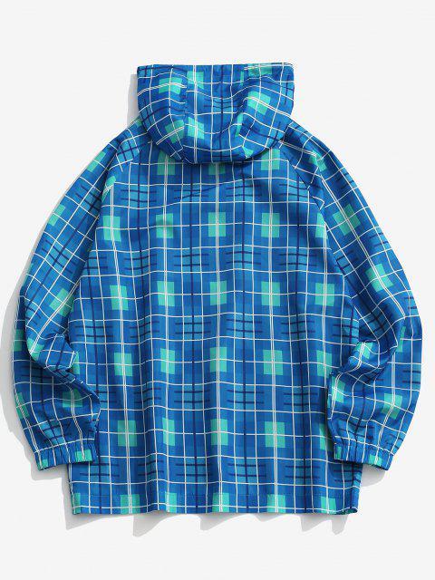 womens Half Zip Plaid Raglan Sleeve Windbreaker Hoodie - BLUE L Mobile