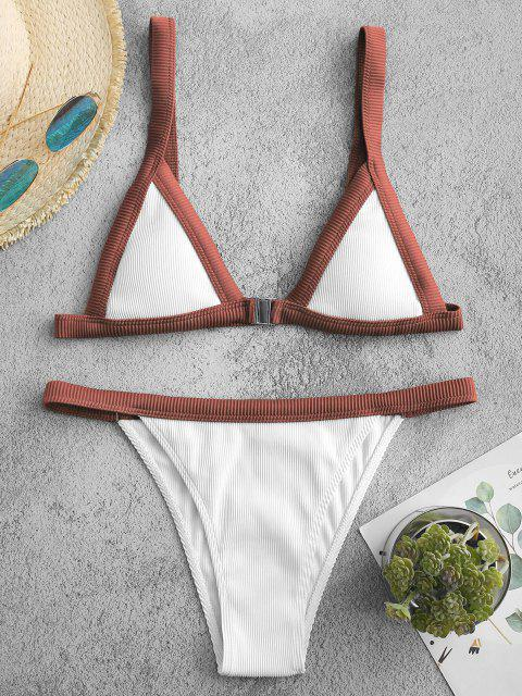 chic ZAFUL Textured Ribbed Binding Front Closure Bikini Swimwear - DEEP RED M Mobile