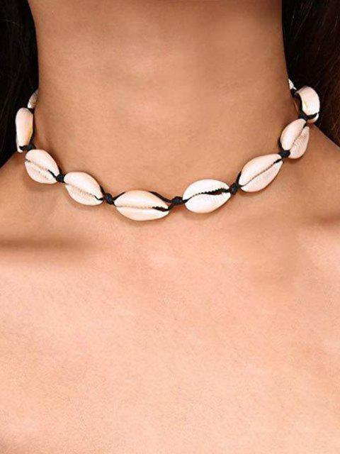 online Cowrie Shell Faux Pearl Necklace - BLACK  Mobile