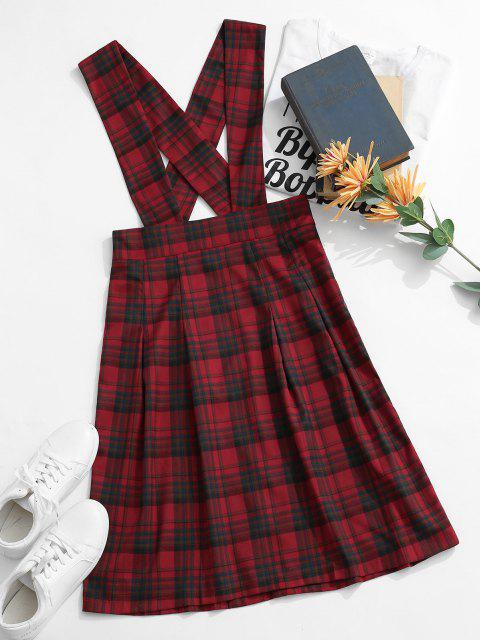 best ZAFUL Plaid Tartan Criss Cross Suspender Pleated Skirt - RED L Mobile