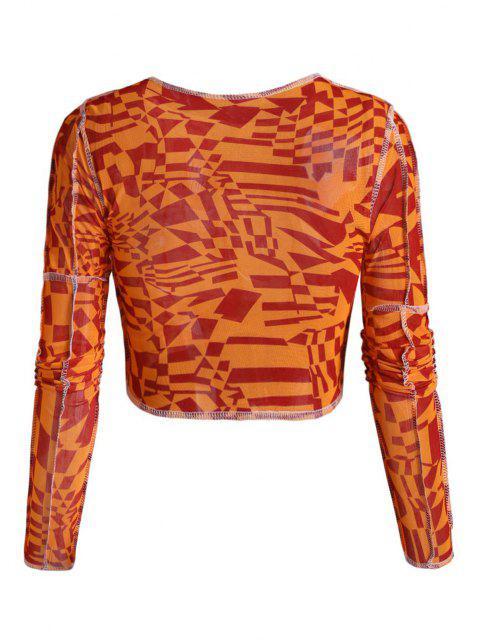 outfits Exposed Seam Geometric Sheer Mesh Baby Tee - ORANGE S Mobile