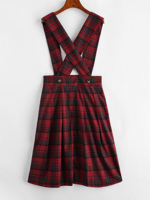 womens ZAFUL Plaid Tartan Criss Cross Suspender Pleated Skirt - RED S Mobile
