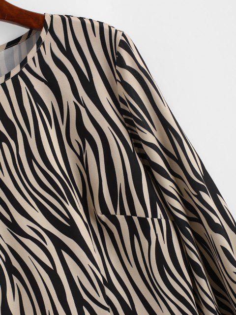 outfit ZAFUL Zebra Print Ruffled Hem Long Sleeve Dress - LIGHT COFFEE S Mobile