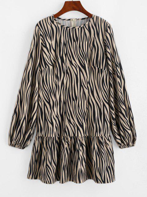 ZAFUL Langärmliges Kleid mit Zebradruck und Rüschensaum - Licht Kaffee M Mobile