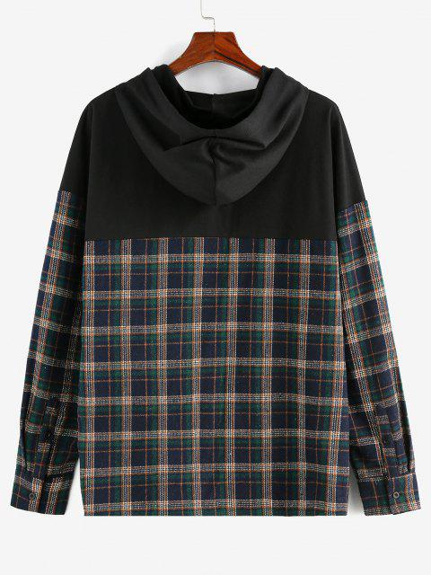 womens Plaid Print Double Pockets Hoodie - DEEP GREEN S Mobile