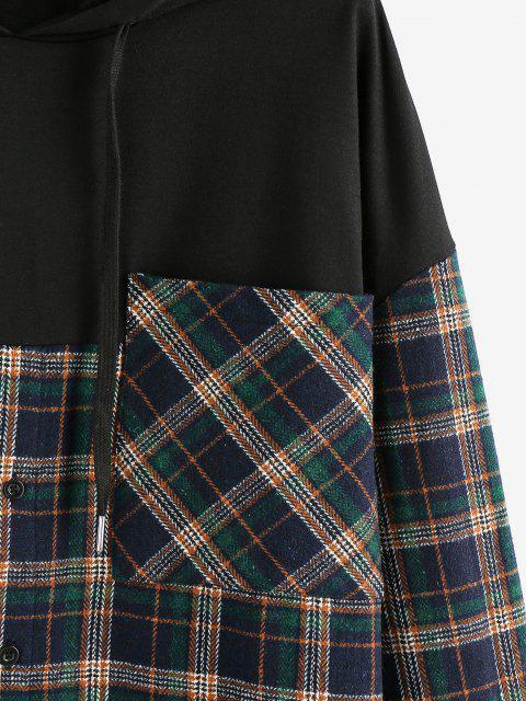ladies Plaid Print Double Pockets Hoodie - DEEP GREEN XL Mobile