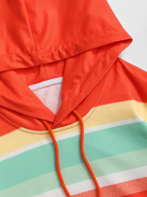 Farbblock Regenbogen Vordertasche Hoodie - Blau S Mobile