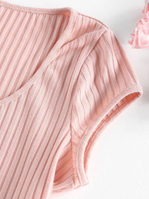 fashion ZAFUL Ribbed Henley Curved Hem Crop T Shirt - LIGHT PINK M Mobile