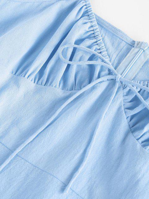 women ZAFUL Bowknot Puff Sleeve Slit Mini Dress - LIGHT BLUE S Mobile
