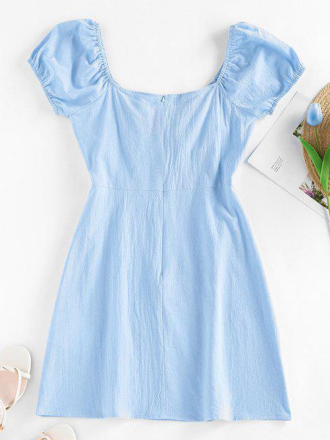 women ZAFUL Bowknot Puff Sleeve Slit Mini Dress - LIGHT BLUE M Mobile