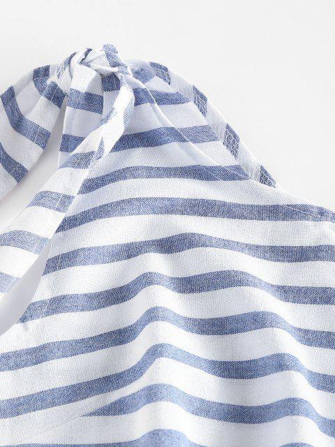 best Striped One Shoulder Mini Dress - LIGHT BLUE XL Mobile