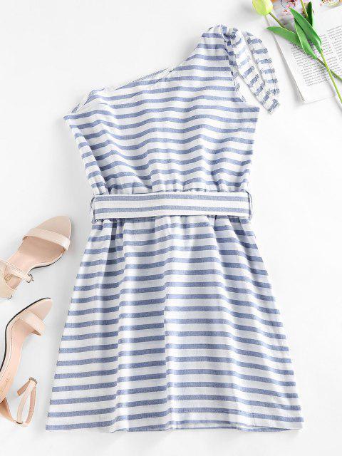 shops Striped One Shoulder Mini Dress - LIGHT BLUE L Mobile