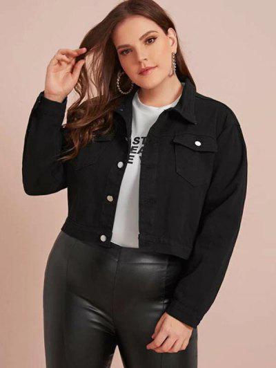 Plus Size Solid Denim Jacket - Black 3xl