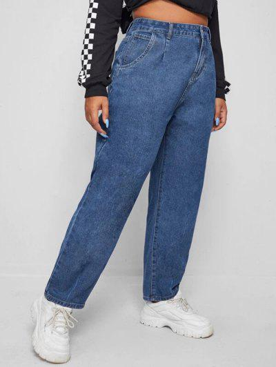 Plus Size Trapeze Mom Jeans - Deep Blue 3xl