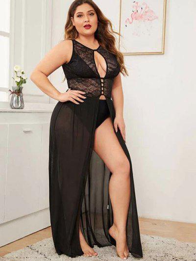 Plus Size Cutout Lace And Mesh Lingerie Gown - Black 4xl