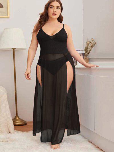 Plus Size High Slit Mesh Lingerie Gown - Black 3xl