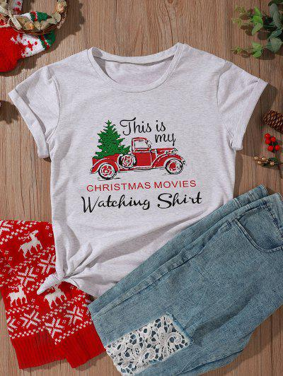 Funny Car Christmas Tree Movies Tee - Light Gray M