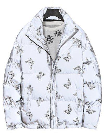 Reflective Butterfly Print Puffer Jacket - Black L