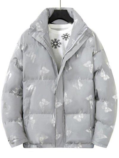 Reflective Butterfly Print Puffer Jacket - Silver L
