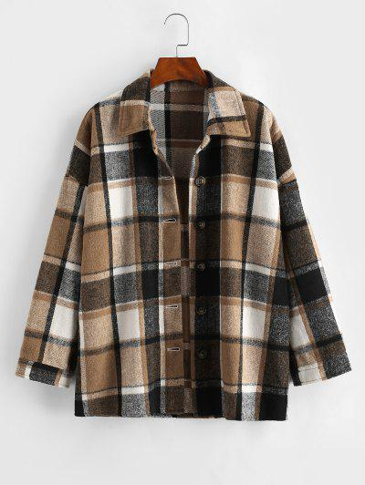 Button Front Plaid Wool Blend Shacket - Coffee M