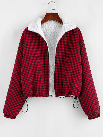 ZAFUL Gingham Drop Shoulder Faux Fur Lining Coat - Brown Sugar S