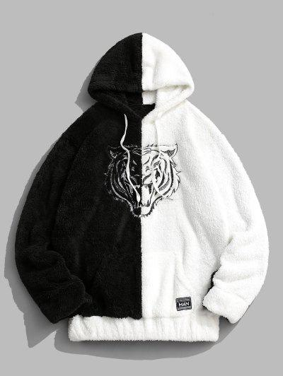 Two Tone Tiger Embroidery Fluffy Hoodie - Black 2xl