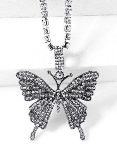 Collier Pendant Motif De Grand Papillon Avec Strass - Métal Pistolet