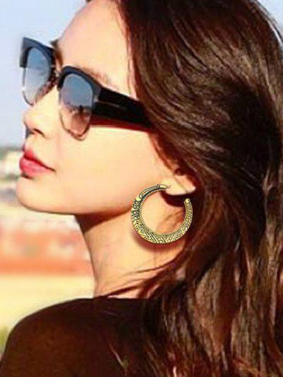 Ethnic Carved C-shaped Stud Earrings - Bronze