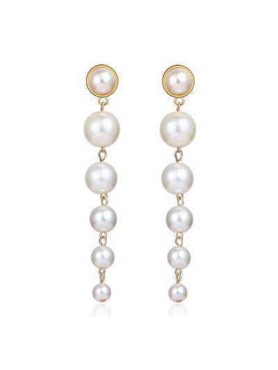 Faux Pearl Tassels Drop Earrings - Golden