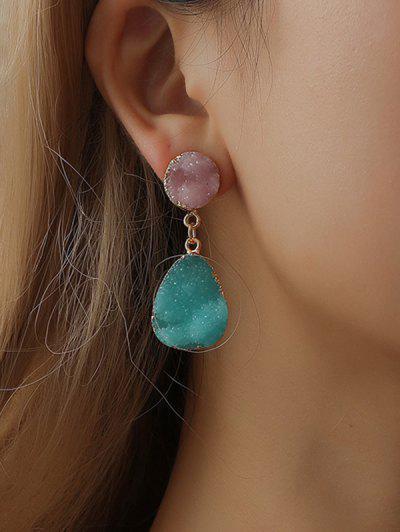 Teardrop Faux Crystal Drop Earrings - Golden