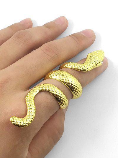 Anello Avvolgente Con Motivo In Pelle Di Serpente - Oro