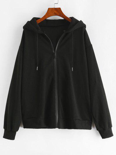 Drawstring Zip Up Seam Pockets Hoodie - Black S