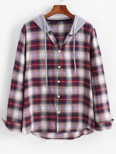 Camicia A Quadretti A Blocchi Di Colore Con Cappuccio - Profondo Rosso L