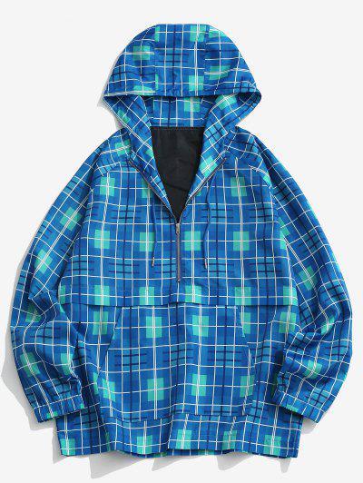 Half Zip Plaid Raglan Sleeve Windbreaker Hoodie - Blue Xl